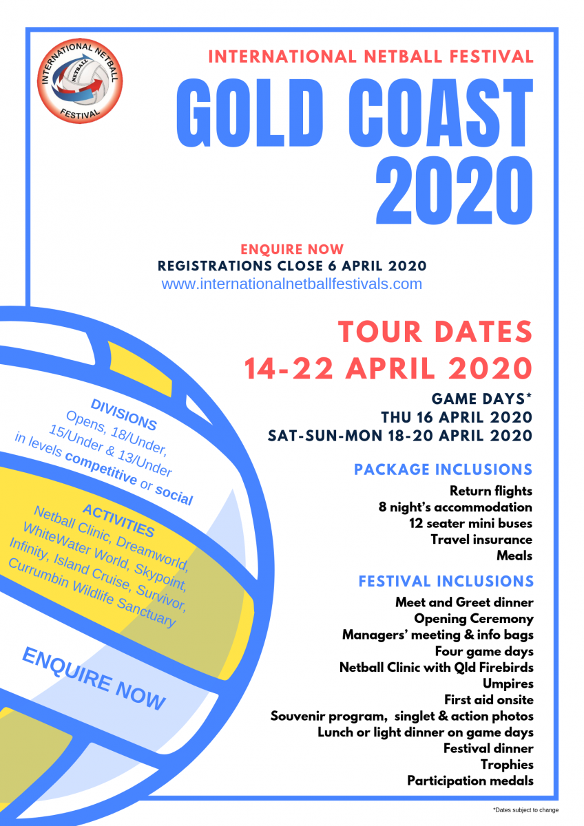 Games For Gold April 2020.International Netball Festival Gold Coast Intersport Global